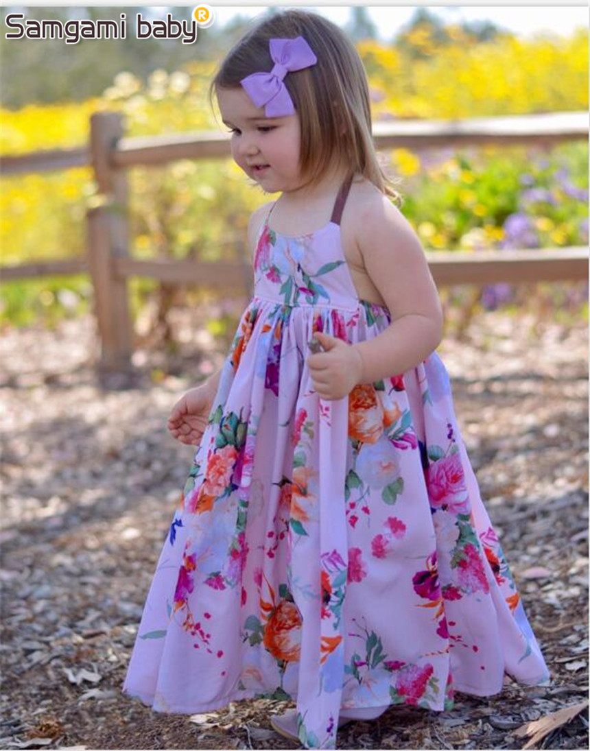 SAMGAMI BABY Summer Beach Party Girls Dresses Backless Lace up Dress ...
