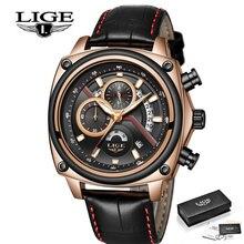 LIGE Pilot Military Sport Men Quartz Watch Fashion Mens Watches Gold Luxury Brand Leather Strap Male Clock Relogio Masculino недорого