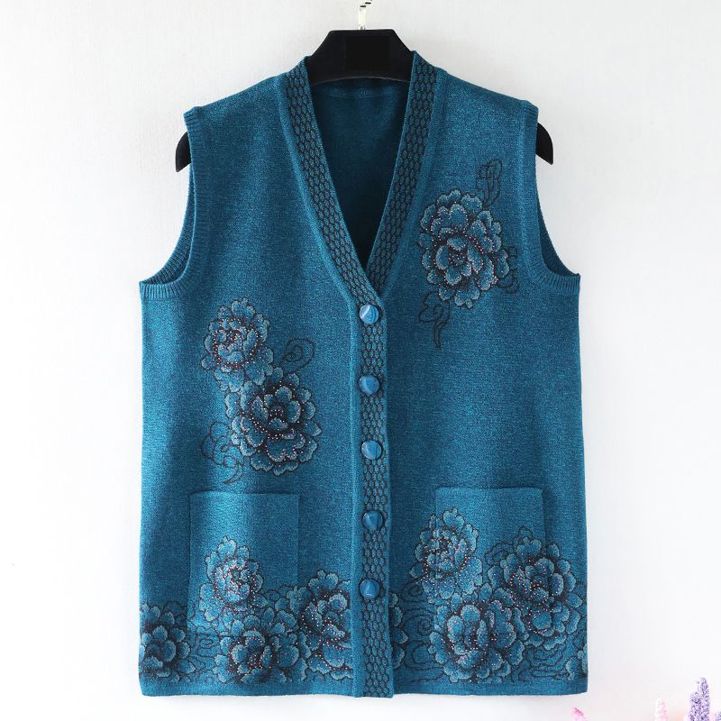 2018 autumn winter fashion print Plus size 4XL 5XL loose Cardigans long knitted wool sweater women christmas Vest RE0745