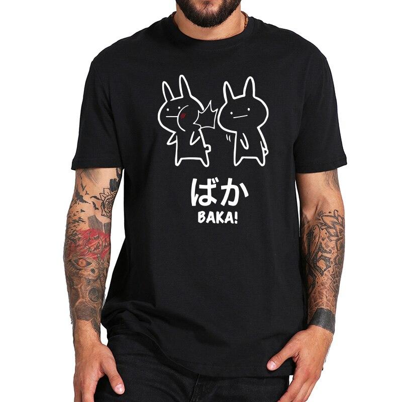Baka Rabbit Slap   T     Shirt   Japan Funny Anime Tops Men Short Sleeve Cotton O-neck Tee Novelty Japanese   T  -  shirt   EU Size
