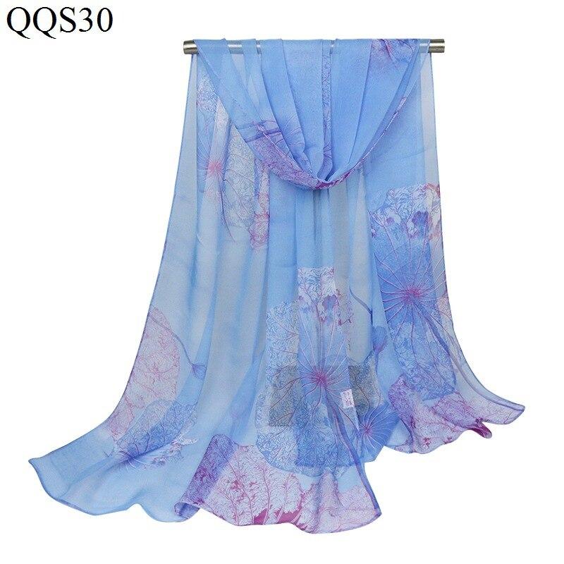 F&u Polyester Long Big Lotus Print Soft Scarf Wrap Luxury Shawl Special Craft Chiffon Touch Feeling Fashion & Warm For Women