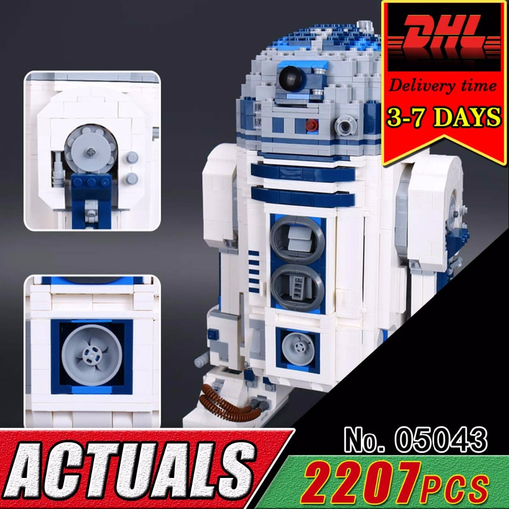DHL LEPIN 05043 Star Series The R2 Robot Model Set D2 Out of print Compatible Building Block Bricks 10225 Military War Toy Child dhl lepin 05055 star series military war the rogue one usc vader tie advanced fighter compatible 10175 building bricks block toy
