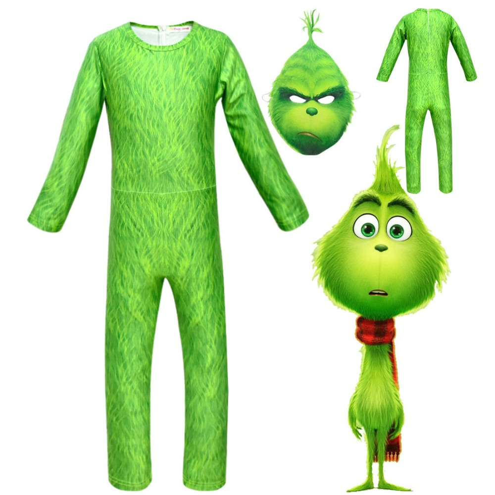 GRINCH FULL FACE Cartoon MineCraft Grinch Jumpsuits Grinch Cosplay Costume for kids Halloween Girls boys Grinch Clothing Sets