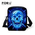 FORUDESIGNS Cool Skull Men Messenger Bags Vintage Men's Clutch bag Mini Shoulder Bag Fashion Kids Crossbody Handbag