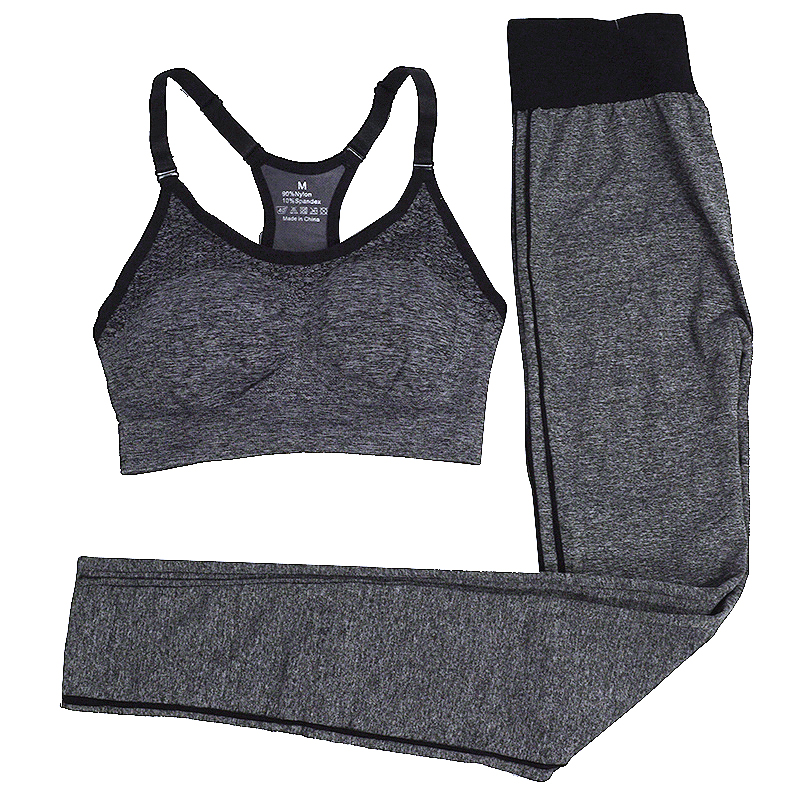 2437f3c06d482 Reallion Gray Women Yoga Set Fitness Sports Bra Yoga Pants Leggings Set  Running Tracksuit for Women Gym Clothing for Female-Y