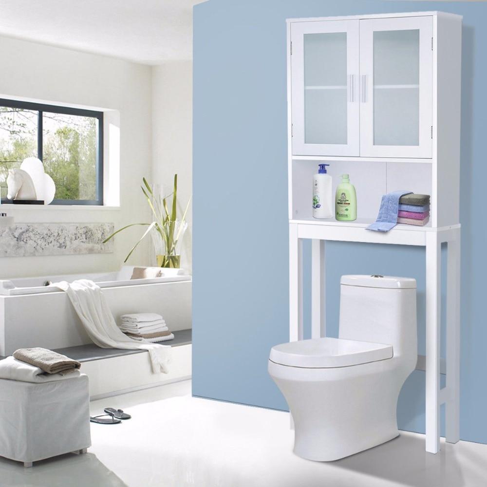 Giantex Wooden White Shelf Over The Toilet Storage Cabinet Drop Door ...
