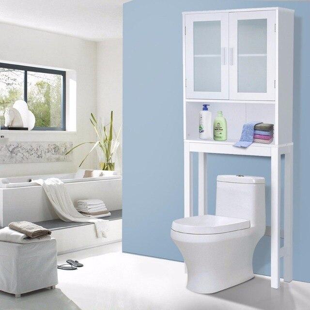 Giantex Wooden Over Toilet High Storage Cabinet Spacesaver Organizer White Modern Bathroom Cabinet With 2 Glass Doors Hw56629