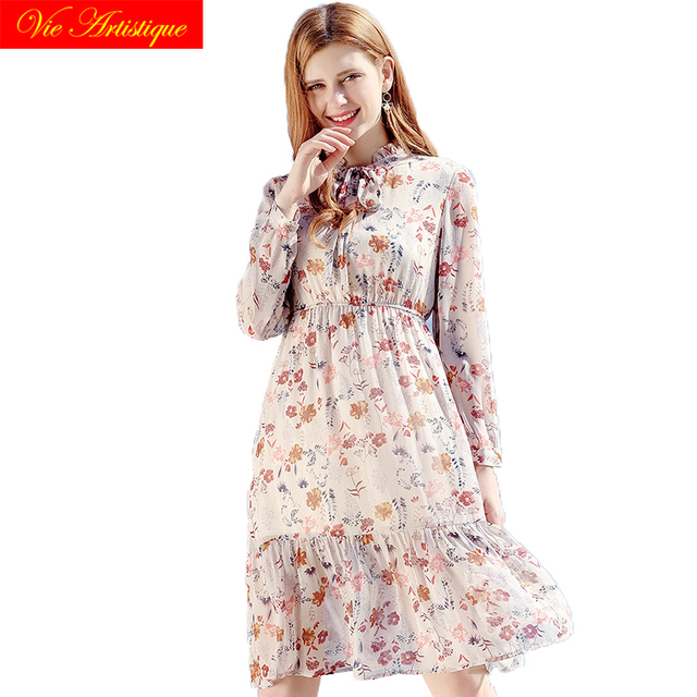 2018 summer chiffon dress women's party A-line work bandage lady white floral dresses large plus size long beach bohemian sweat