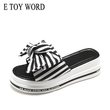 Buy E TOY WORD Platform Slippers summer fashion Korean striped big bow cute flip flop Thick bottom wedge slippers women high heels directly from merchant!