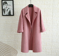 GRUIICEEN new striped open stitch wool jacket women long loose double side hand made cashmere jacket coat office winter coat