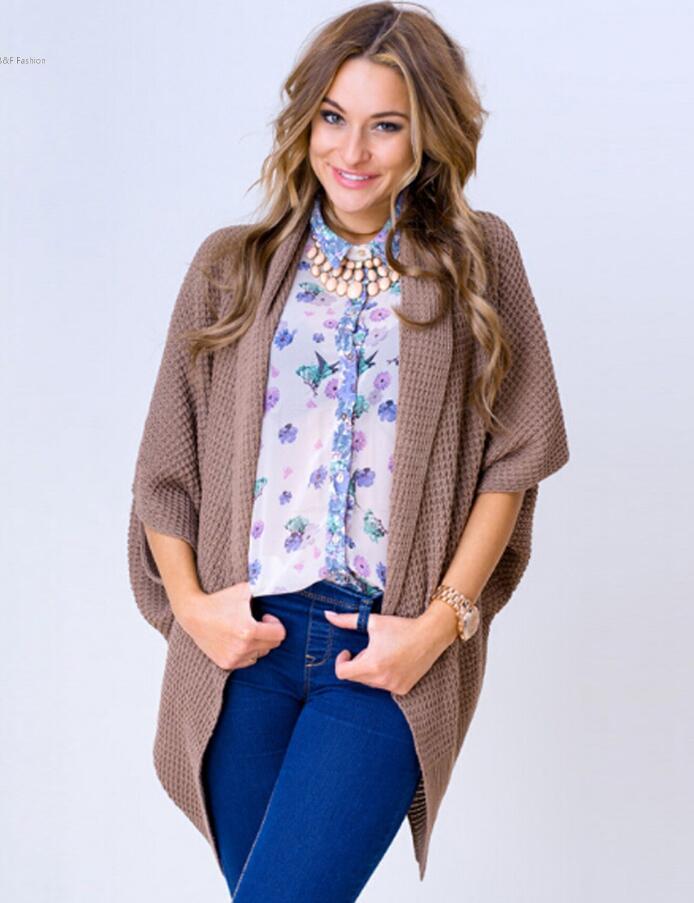 Women Fashion Batwing Short Sleeve Sweater Loose Long Cardigan ...