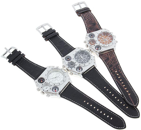 Topdudes.com - Original Oulm Dual Movement Sports Watch With Compass/ Thermometer