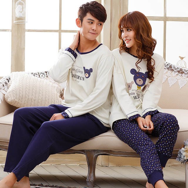 b0e3418d75 Couple Ppajamas Set 100% Cotton Pajamas Plaid Pajamas Spring And Autumn Men  Or Women Long