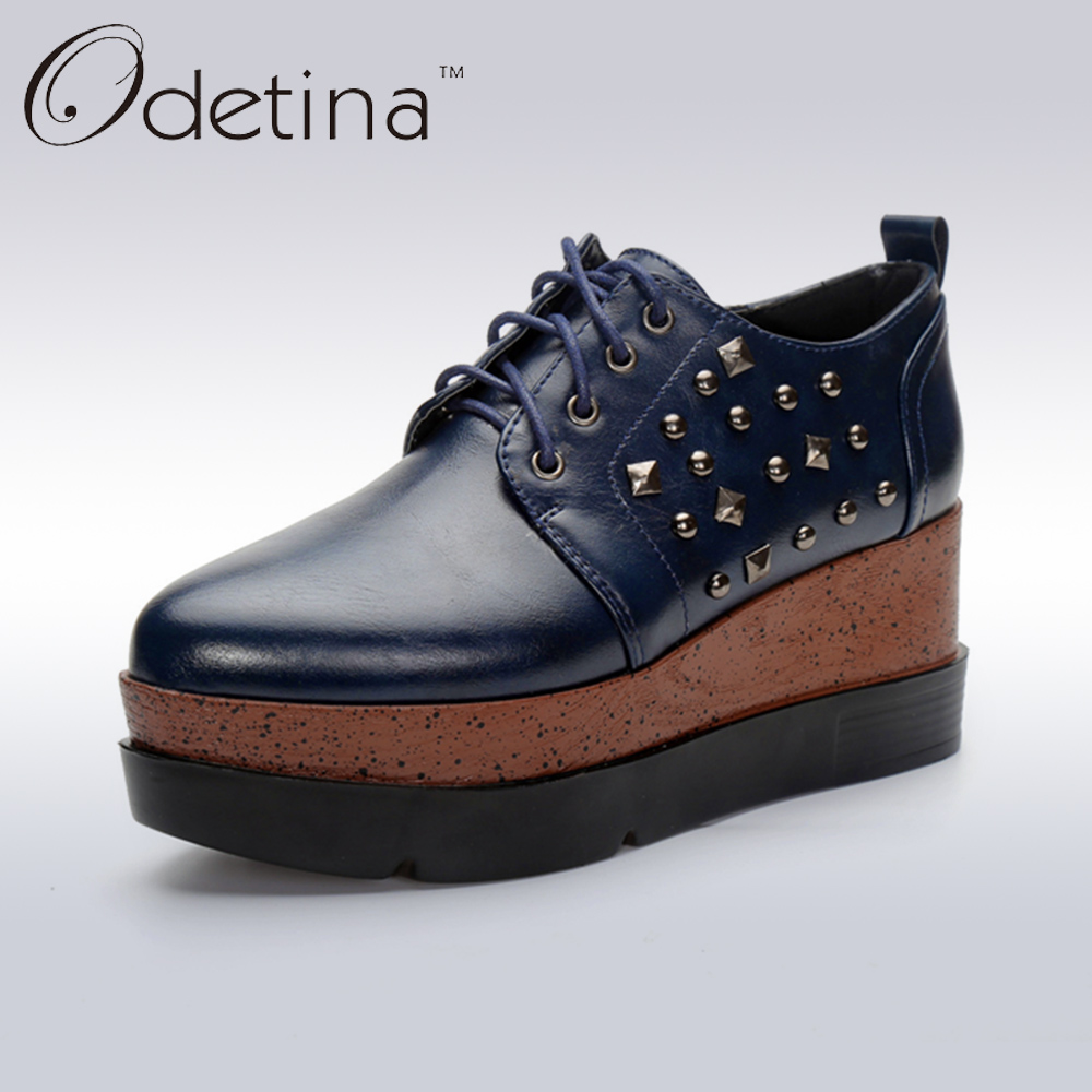 ФОТО Odetina 2017 Fashion Women Wedges Platform Casual Shoes Spring Women Pointed Toe Punk Shoes with Rivets Ladies Lace Up Shoes