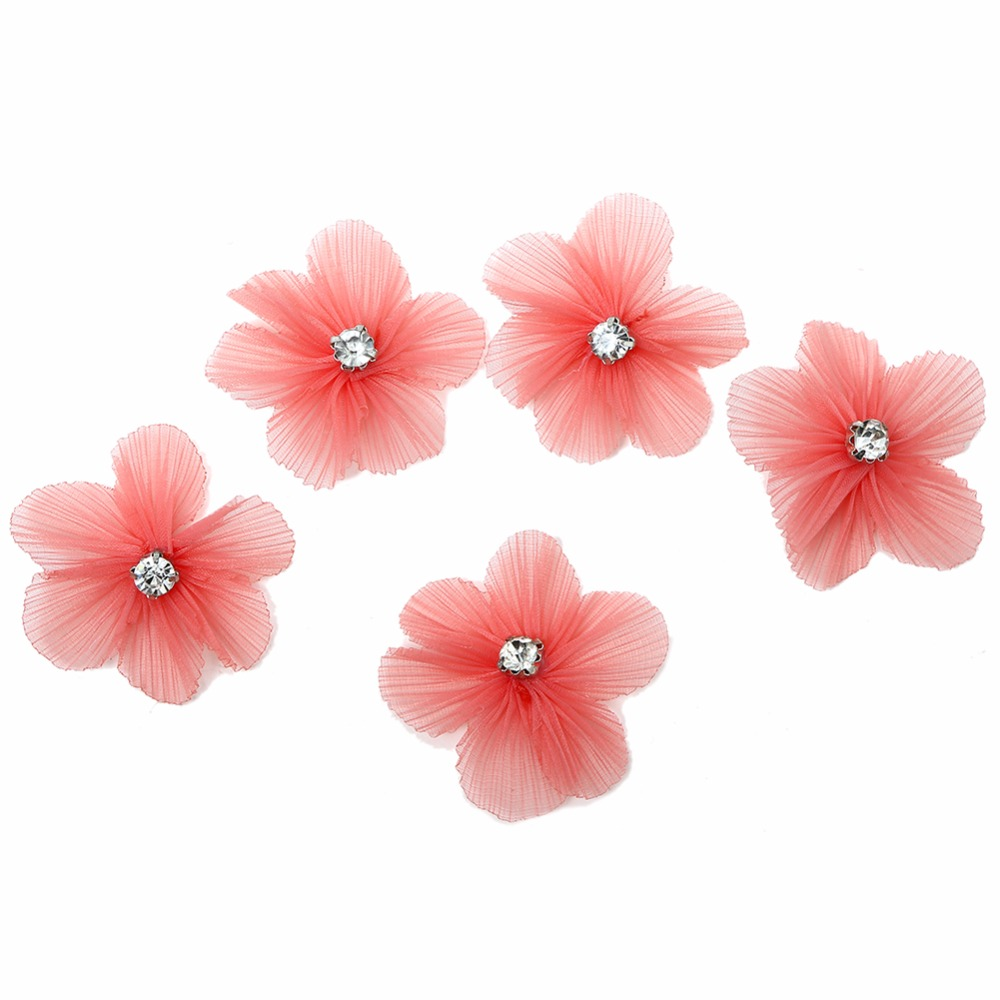10pcs lot Mini Chiffon DIY Handmade Artificial Flower Matching Rhinestone Claw in Central Decoration Craft Fake Flowers Headwear in Artificial Dried Flowers from Home Garden