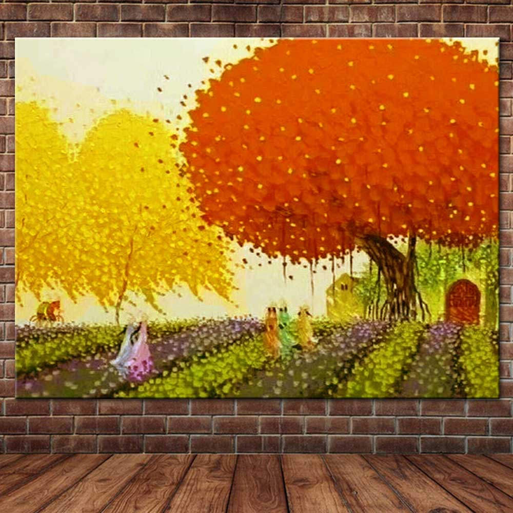 Hand Painted Abstract Palette Knife Autumn Tree Landscape Canvas Oil ...