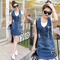 New Fashion 2017 Preppy Style Jeans Dress Women Washed Sleeveless  Denim Sundress Denim Overall Dress Vestidos C595
