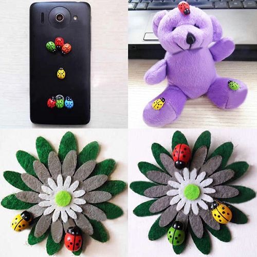 POP ITEM! 100Pcs Colorful Mini 3D Wall Stickers Home Decor Kid Toys DIY Ladybird Ladybug Christmas Gift 6LF8 5