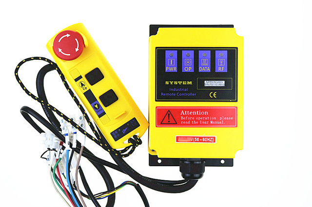 A2HH electric hoist with a direct control type industrial remote control built in contactor with emergency stop