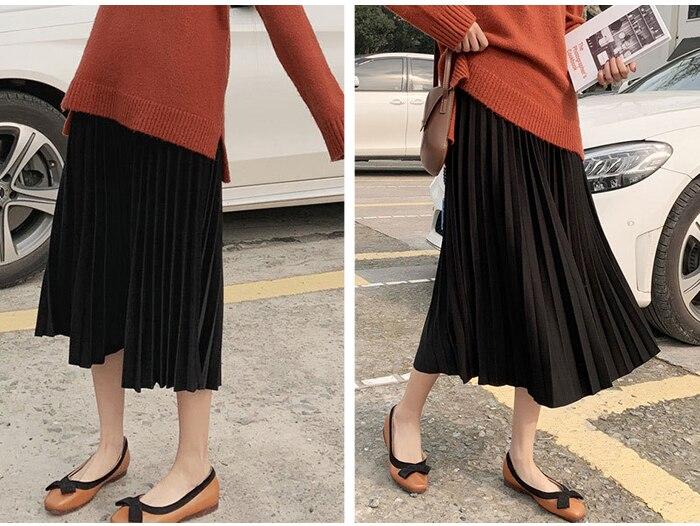 Surmiitro Elegant Solid Midi Pleated Skirt Women 19 Autumn Winter Ladies Korean High Waist A-line School Long Skirt Female 11