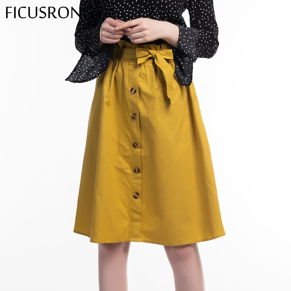 New Solid Bow Belt Autumn Skirts Womens Midi Knee Length Elegant Button High Waist Skirt Female Pleated School Skirt FICUSRONG in Skirts from Women 39 s Clothing
