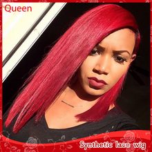 2016 Fashion Synthetic lace front wigs red bob wigs good quality high density cheap wigs heat resistant for black /white women