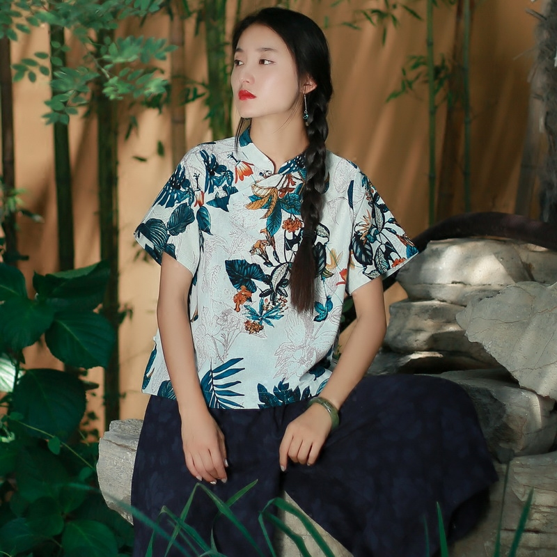68359e919 Elegant Short Sleeve Frog Button Stand Collar Flower Print Women Cotton  Linen T Shirt, Summer Chinese Cheongsam Style Tee Shirts