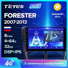 TEYES CC2 Штатная магнитола для Субару Форестер 3 Subaru Forester 3 SH 2007 2009 2010 2013 Android 8.1, до 8-ЯДЕР, до 4+ 64ГБ 32EQ+ DSP 2DIN автомагнитола 2 DIN DVD GPS мультимедиа автомобиля головное устройство