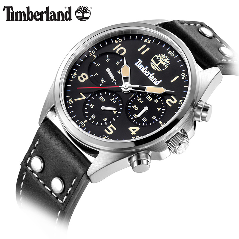 Timberland Mens Watches Quartz Leather Multifunction Display Large Dial Calendar Casual Watch T14859