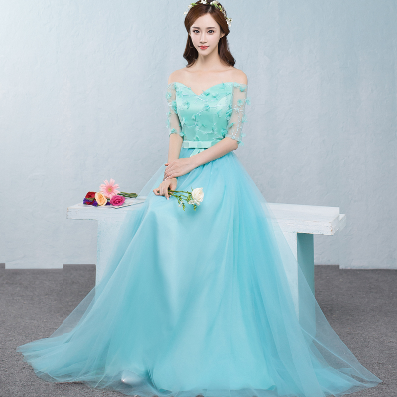 2018 new   Bridesmaid     Dresses   plus size stock cheap chiffon sexy romantic sister simple elegant fashion light blue long JYX843CL