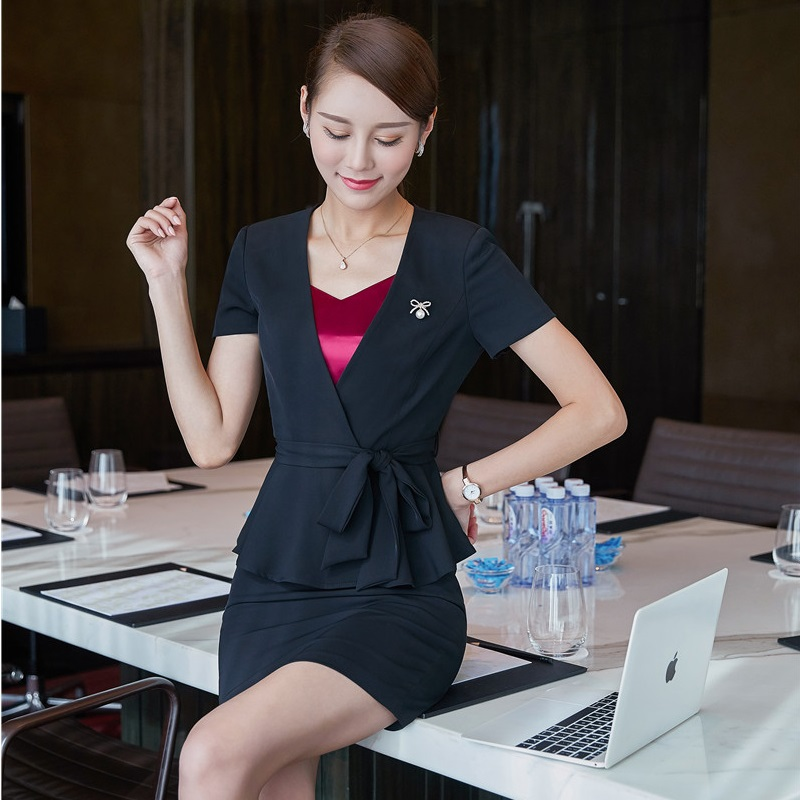 Formal Uniform Design Short Sleeve Professional Blazer Suits With Tops And Skirt For Women Office Ladies Blazers Outfits