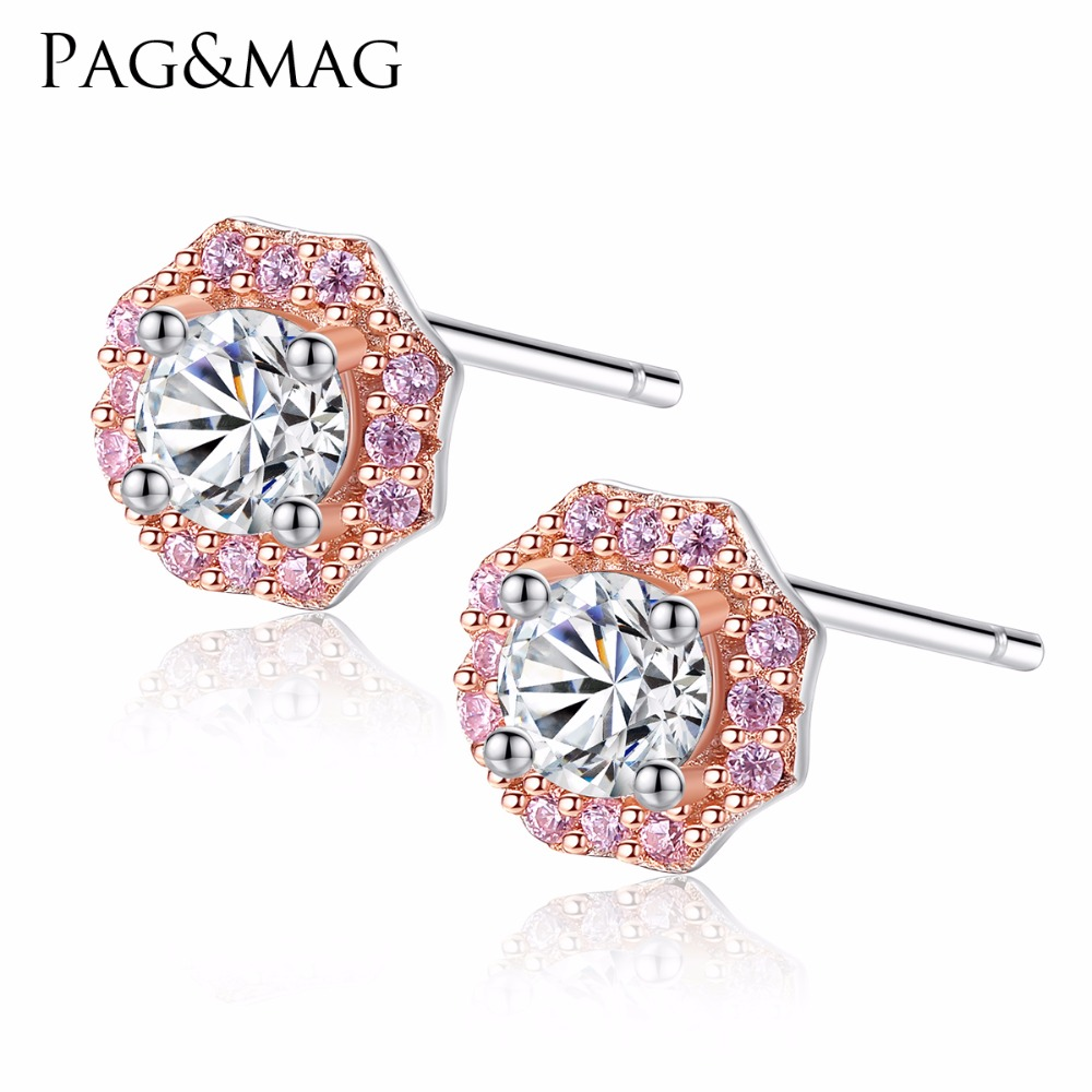 PAG&MAG Korean Style Brand Sterling Silver 925 Rose Flower Shape Stud Earring With AAA Zircon Crystal For Women Girl JewelryPAG&MAG Korean Style Brand Sterling Silver 925 Rose Flower Shape Stud Earring With AAA Zircon Crystal For Women Girl Jewelry