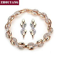 Top Quality ZYS063 Frosting Elliptic Charms Rose Gold Color Jewelry Set Rhinestone Made with Austrian SWA Element Crystals