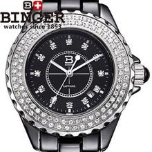 CZ Diamond Black ceramic Binger watches female personality round watch fashion casual quartz waterproof  promotion wristwatch