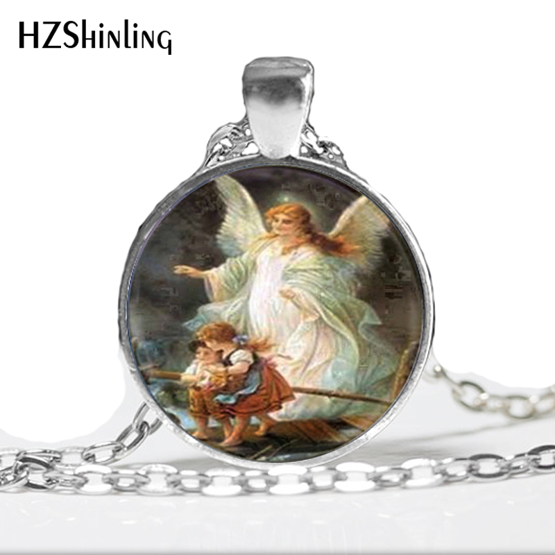 Ожерелье ангела-хранителя, фото ангела-хранителя, стеклянный купол, ожерелье с кулоном, ожерелье ангела HZ1
