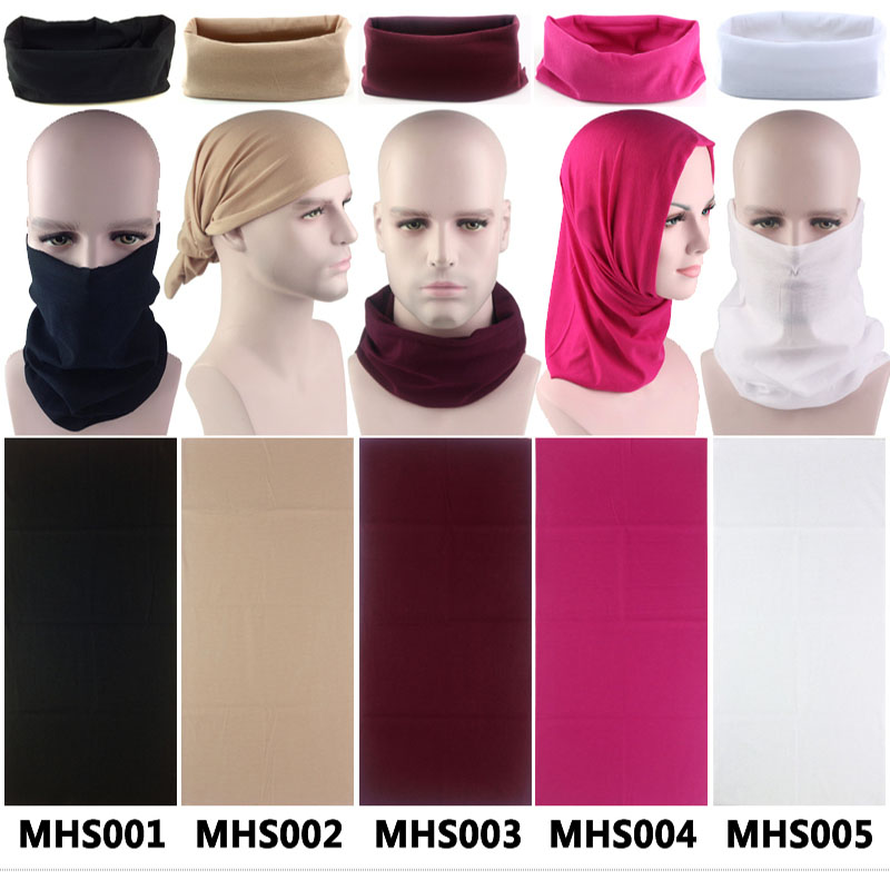 Unisex Magic Solid Buffs Outdoor Sports Bicycle Riding Headband Bike Cycling Black Balaclava Neck Warmer Plain Bandana Face Mask plain headband 3pcs