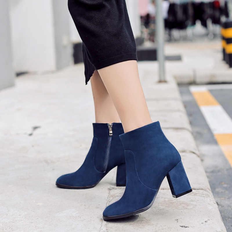 DONNA-IN cừu da lộn mắt cá chân khởi động quảng trường thời trang ngón chân gót chân dày phụ nữ khởi động cao gót da chính hãng lady boots
