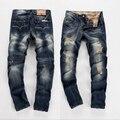 2016 Nuevos mens de la llegada pantalones vaqueros de la venta caliente hombres de la moda marca de diseño jeans impresos algodón de los hombres del motorista jenas 960