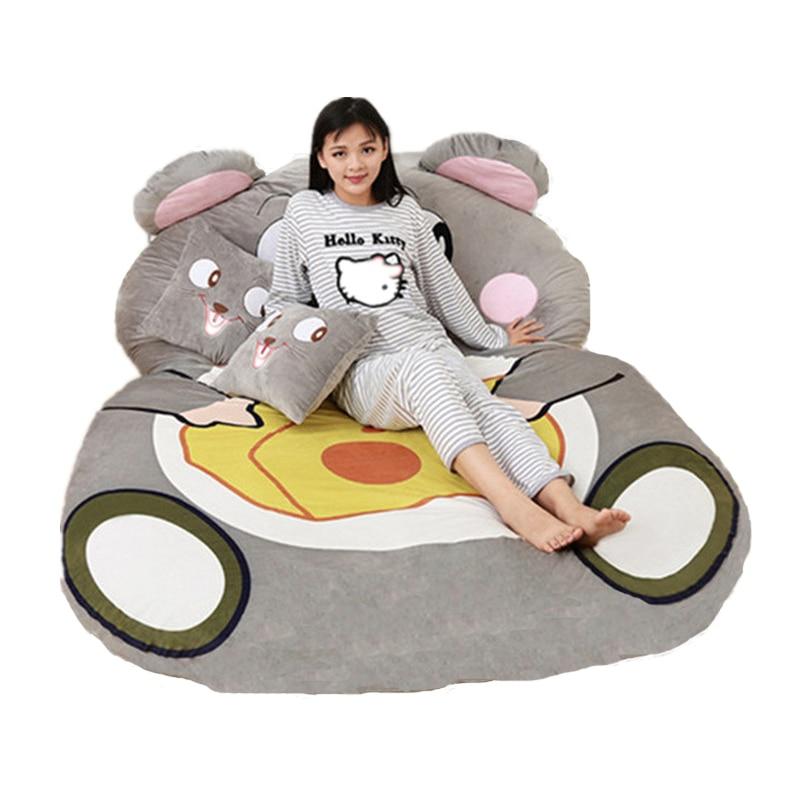 fancytrader giant plush cartoon animal mouse tatami stuffed soft beanbag bed carpet mat sofa in. Black Bedroom Furniture Sets. Home Design Ideas
