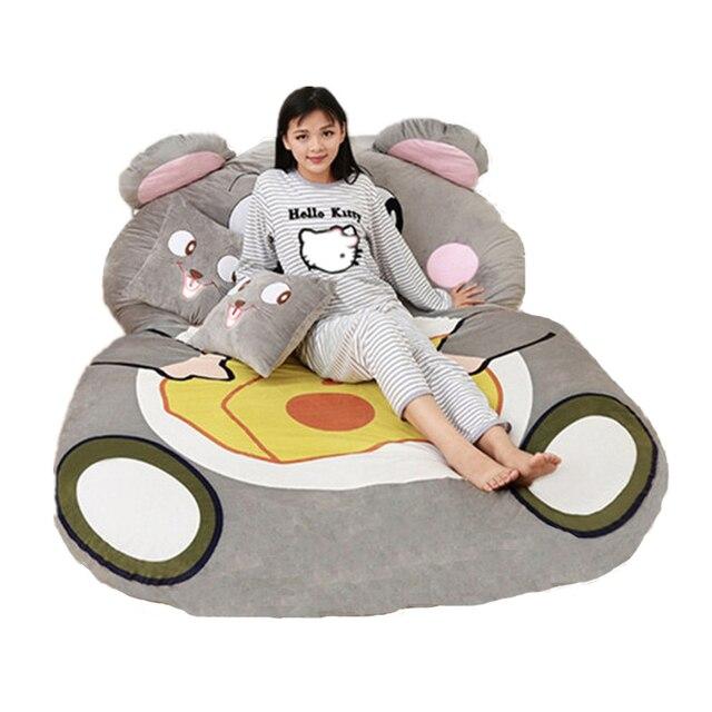 Fancytrader Giant Plush Cartoon Animal Mouse Tatami  Stuffed Soft Beanbag Bed Carpet Mat Sofa