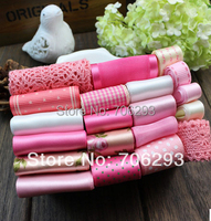 High Quality Pink Dot 20 YDS Mixed 20style Stain Grosgrain Cotton Lace Ribbon Diy Hairbows Combination