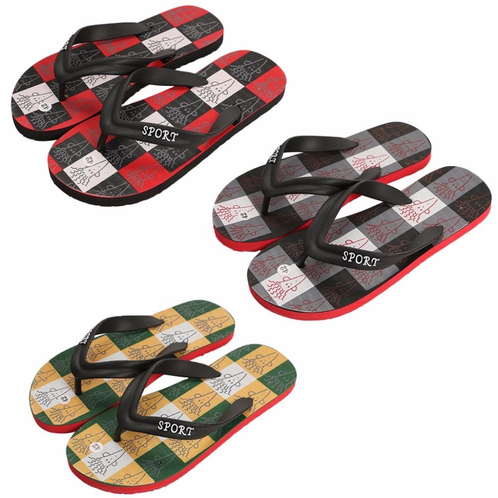 Flip-flops Herrenschuhe Aufstrebend Neue 2018 Plaid Hausschuhe Männer Comfy Tanga Flip-flops Nicht Slip Sandalen Sommer Strand Schuhe Schwarz/grün/rot Farbe