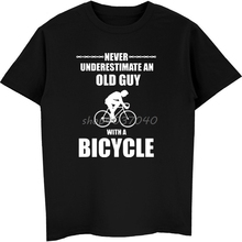 69b5d5743 Men Fashion Print T-shirt Never Underestimate Old Guy Bicycle Cycler  Mountain Biker Road T