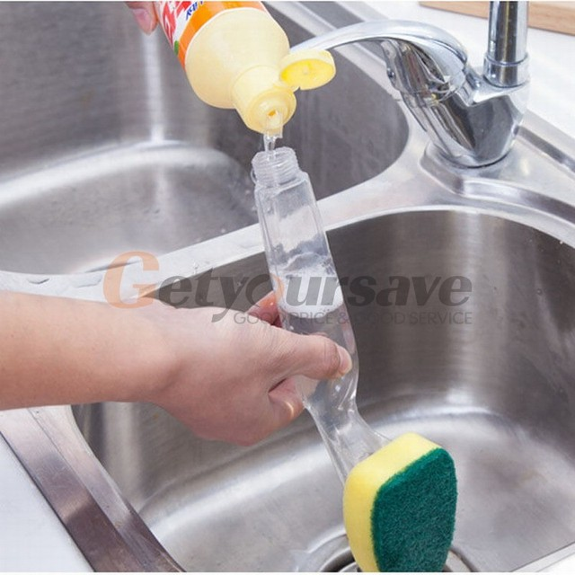 Beau Kitchen Cleaning Brush Scrubber Washing Dish With Refill Liquid Soap  Dispenser