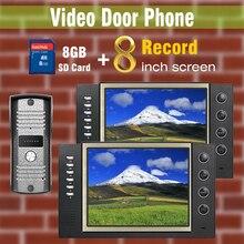 Video Recording Door Phone Intercom doorBell System 8″ LCD Screen + 8GB SD Card video Door bell Speakerphone Intercom