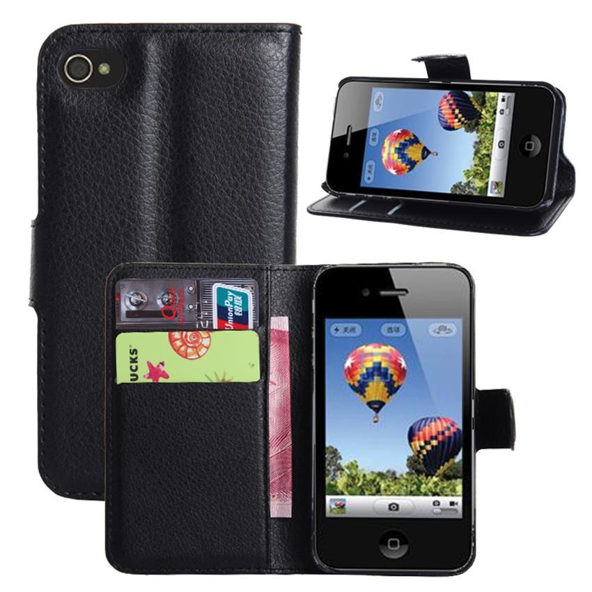 4S Flip Wallet Leather Cover Case for iPhone 4S 4 Luxury
