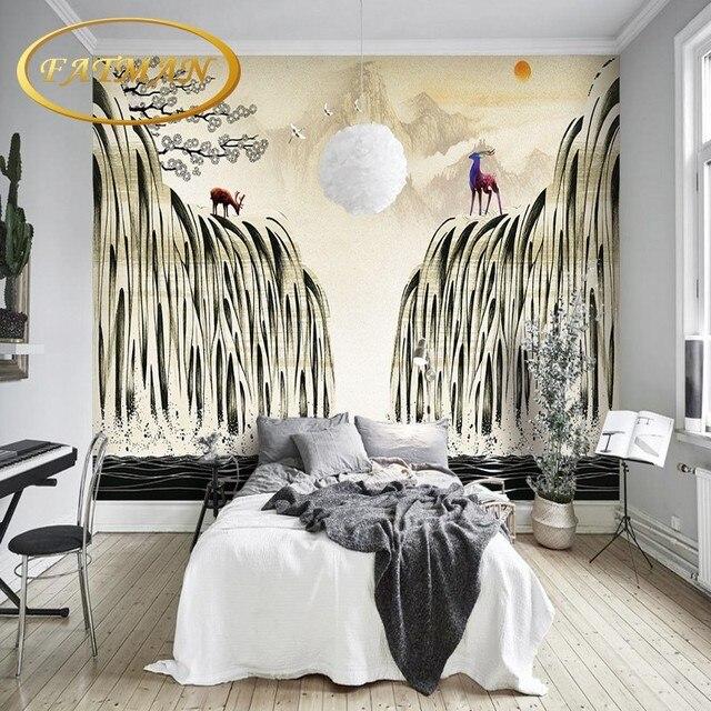 Custom foto behang Scandinavische art herten art achtergrond muur ...