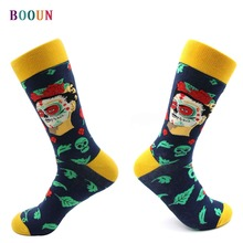 Hip hop mens new combed cotton socks funny compression casual england style colorfull indian woman