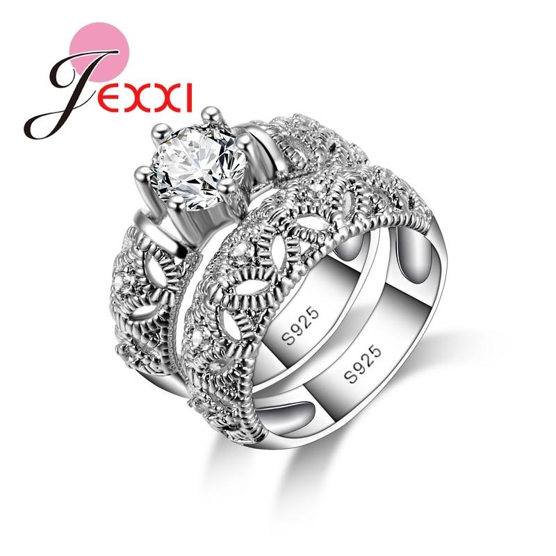 JEXXI Vintage Double Rings Med Mask For Kvinner S90 Sølv Elegant Smykker Big Round Skinnende Tilbehør Wholesale