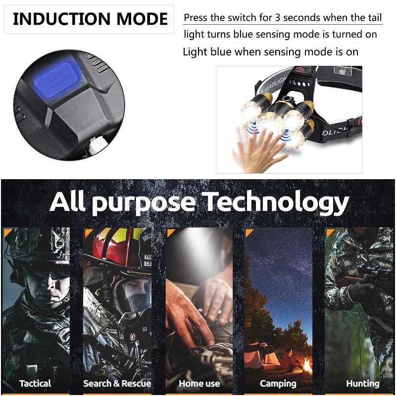 LED חיישן פנס 3/5 LED T6 פנס תנועה חיישן ראש אור עמיד למים ראש לפיד עם נטענת 18650 סוללה